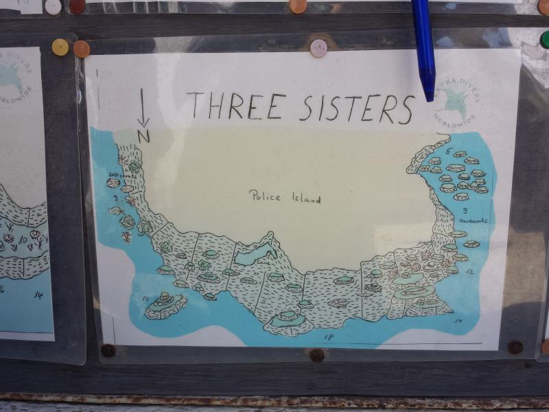 Site Map of 3 Sisters Dive Site, Oman