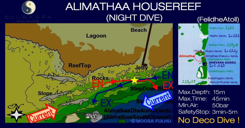 Site Map of Alimatha Dive Site, Maldives