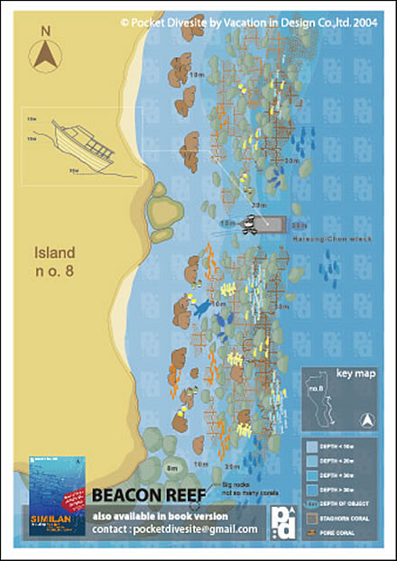 Site Map of Beacon Reef - Similans Dive Site, Thailand