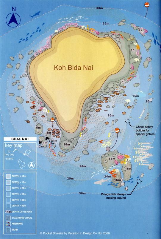 Site Map of Bida Nai Dive Site, Thailand