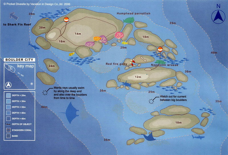Site Map of Boulder City - Similans Dive Site, Thailand