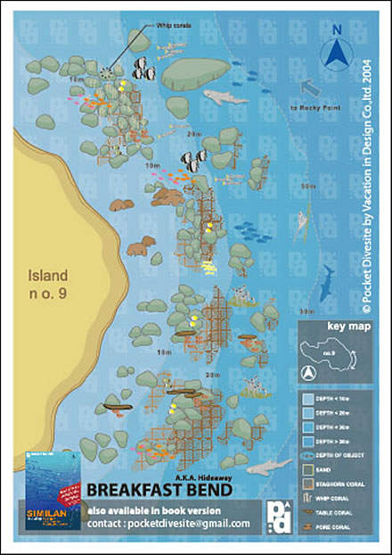 Site Map of Breakfast Bend - Similans Dive Site, Thailand