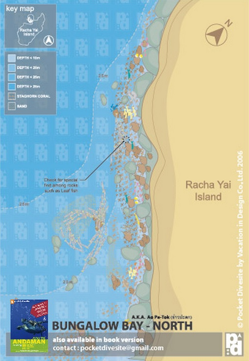 Site Map of Bungalow Bay North Wall - Racha Yai Dive Site, Thailand