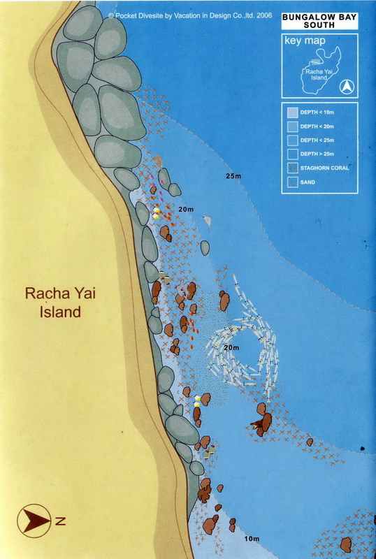 Site Map of Bungalow Bay South Wall - Racha Yai Dive Site, Thailand