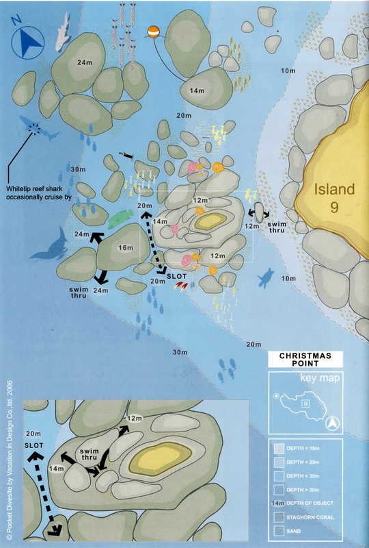 Site Map of Christmas Point -Similans Dive Site, Thailand