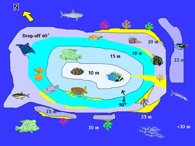 Site Map of Dhonfanu Thila Dive Site, Maldives