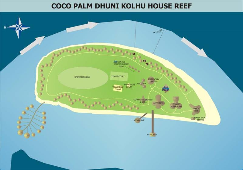 Site Map of Dhunikolhu House Reef Dive Site, Maldives