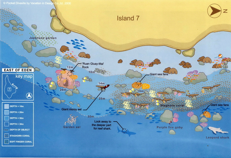 Site Map of East of Eden - Similans Dive Site, Thailand