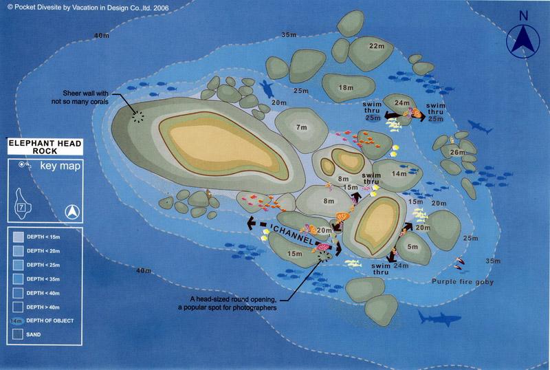 Site Map of Elephant Head Rock - Hin Pusa - Similans Dive Site, Thailand