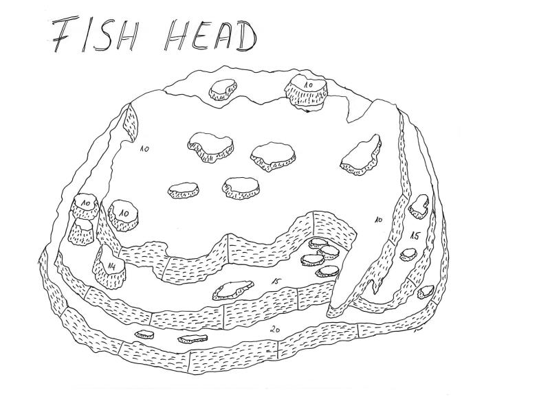 Site Map of Fish Head (Mushi Mas Mingili Thila) Dive Site, Maldives