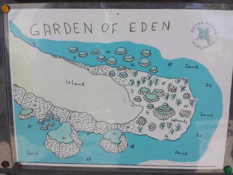 Site Map of Garden of Eden Dive Site, Oman
