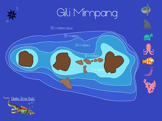Site Map of Gili Mimpang Dive Site, Indonesia