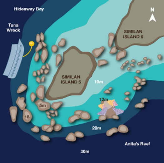 Site Map of Hideaway Bay - Similans Dive Site, Thailand