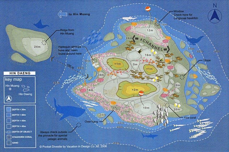 Site Map of Hin Daeng Dive Site, Thailand