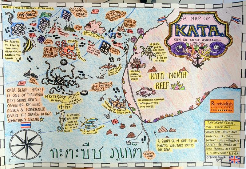 Site Map of Kata Beach - Phuket Dive Site, Thailand