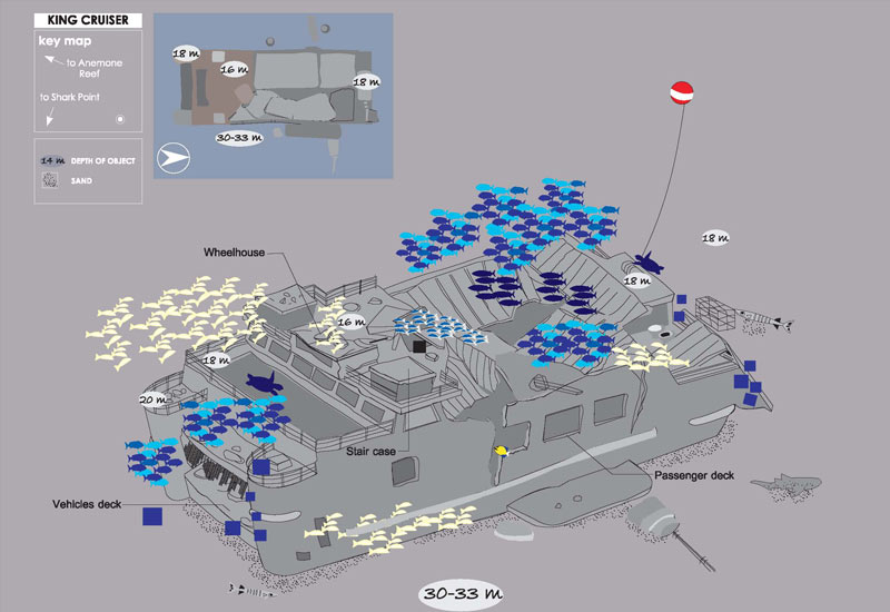 Site Map of King Cruiser Dive Site, Thailand