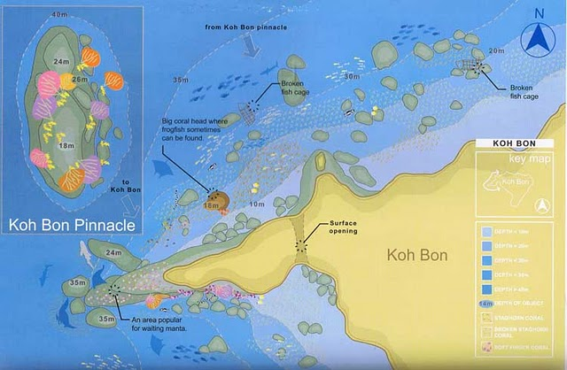 Site Map of Koh Bon Pinnacle Dive Site, Thailand