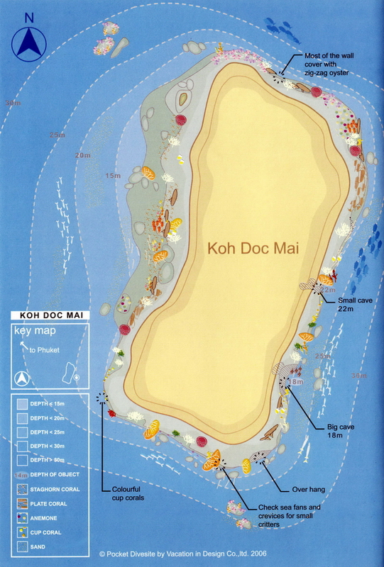 Site Map of Koh Doc Mai Dive Site, Thailand