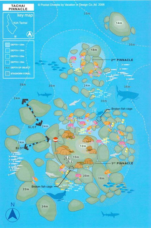 Site Map of Koh Tachai Pinnacle -Twin Peaks Dive Site, Thailand