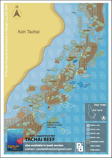 Site Map of Koh Tachai Reef Dive Site, Thailand