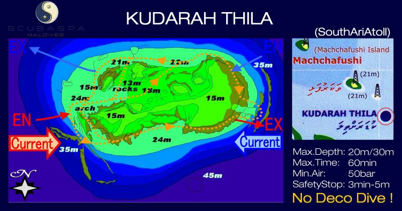 Site Map of Kudarah Thila Dive Site, Maldives