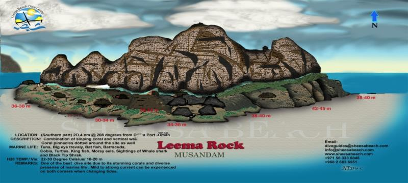 Site Map of lima rock Dive Site, Oman