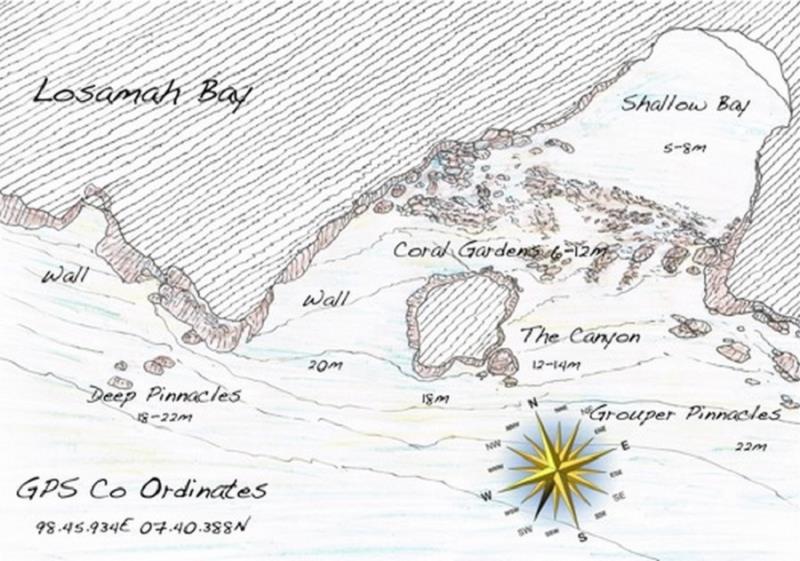 Site Map of Losamah Bay - Phi Phi Leh Dive Site, Thailand