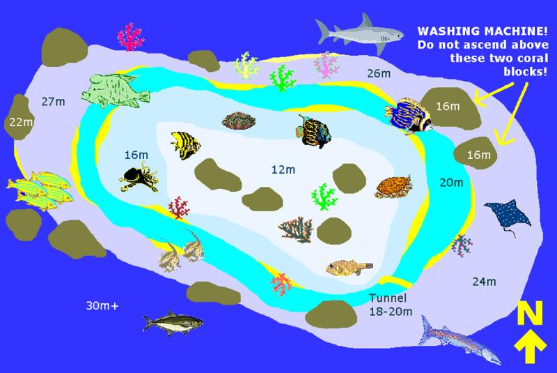 Site Map of Maavaru Kuda Thila Dive Site, Maldives