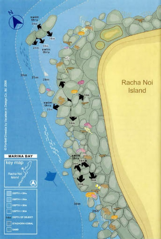 Site Map of Marina Bay - Racha Noi Dive Site, Thailand