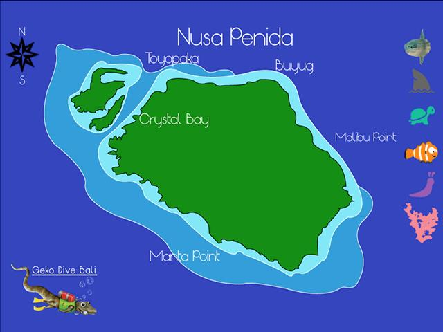 Site Map of Nusa Lembongan Dive Site, Indonesia