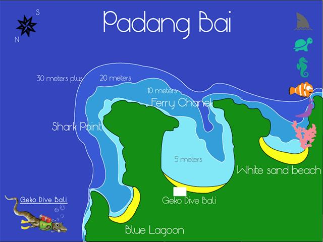 Site Map of Padang Bai Bali  Dive Site, Indonesia