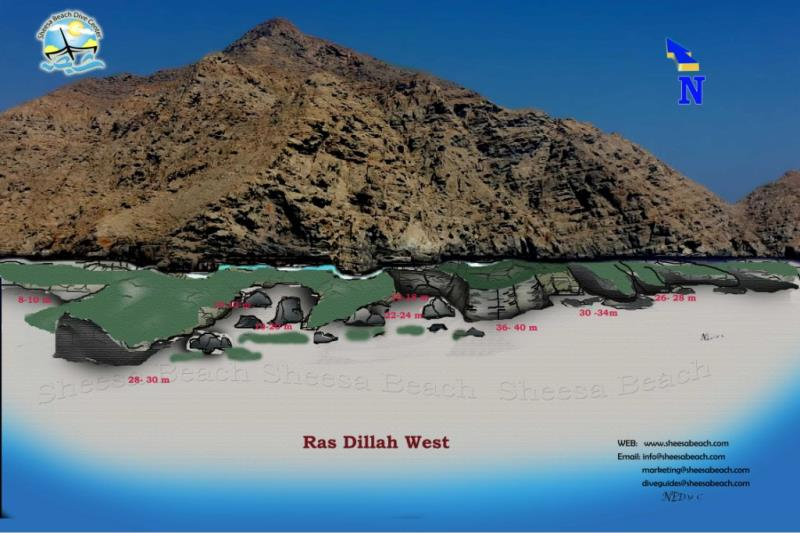 Site Map of ras dillah west Dive Site, Oman