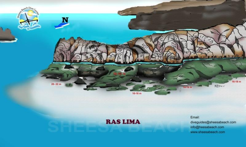 Site Map of Ras Lima Dive Site, Oman