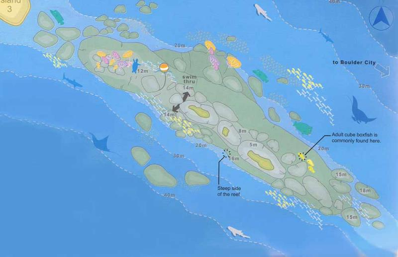 Site Map of Shark Fin Reef - Hin Phae - Similans Dive Site, Thailand
