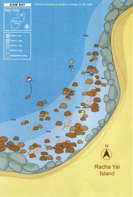 Site Map of Siam Bay - Racha Yai Dive Site, Thailand
