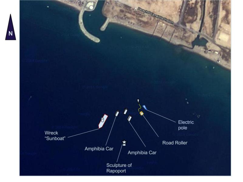 Site Map of Sun Boat Dive Site, Israel
