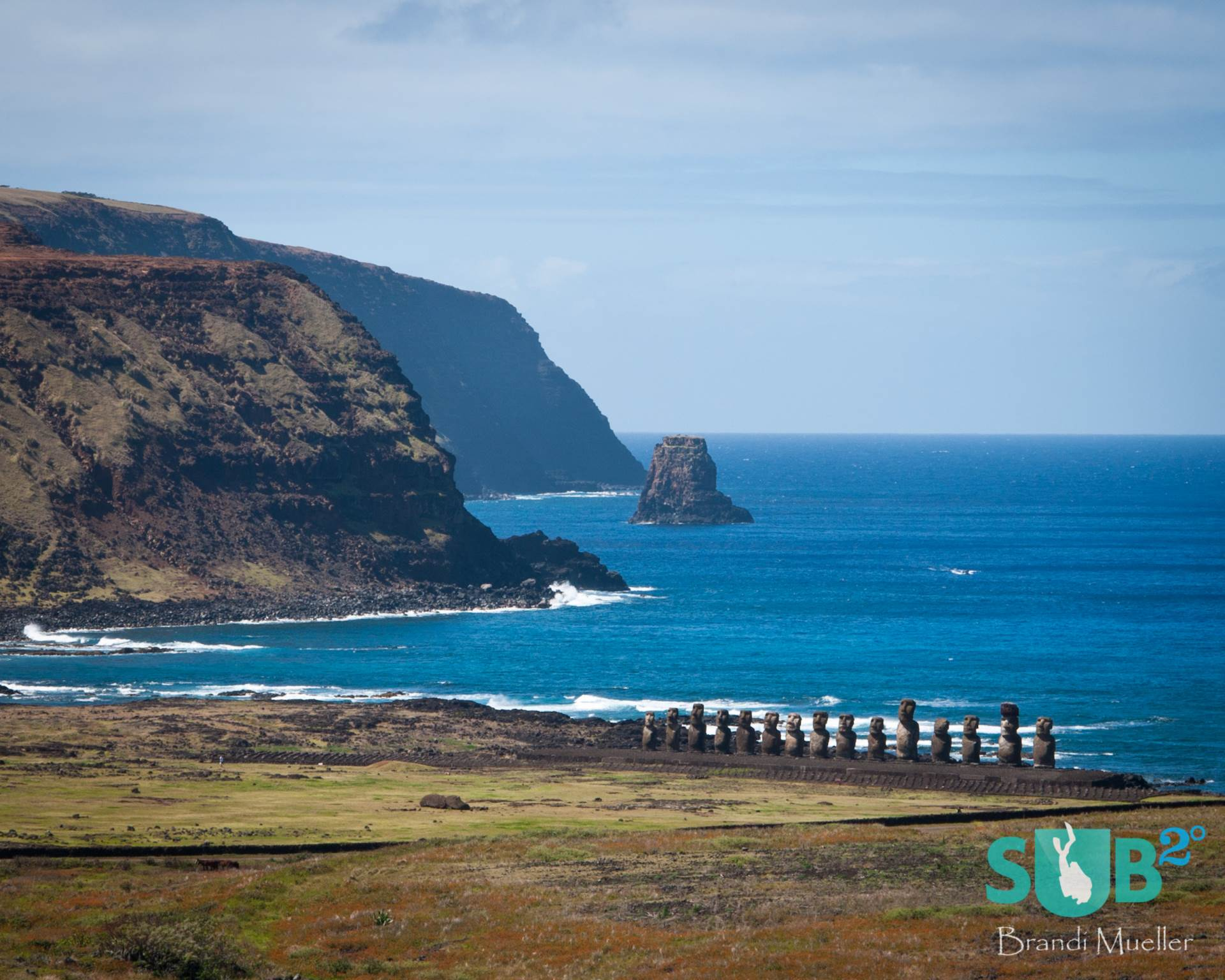 The fifteen moai of Ahu Tongoriki have been restored on the coastline of Easter Island.