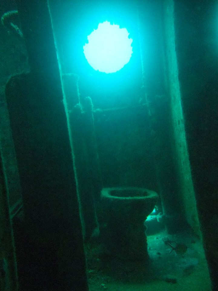 Inside the wreck , great shallow wreck site
