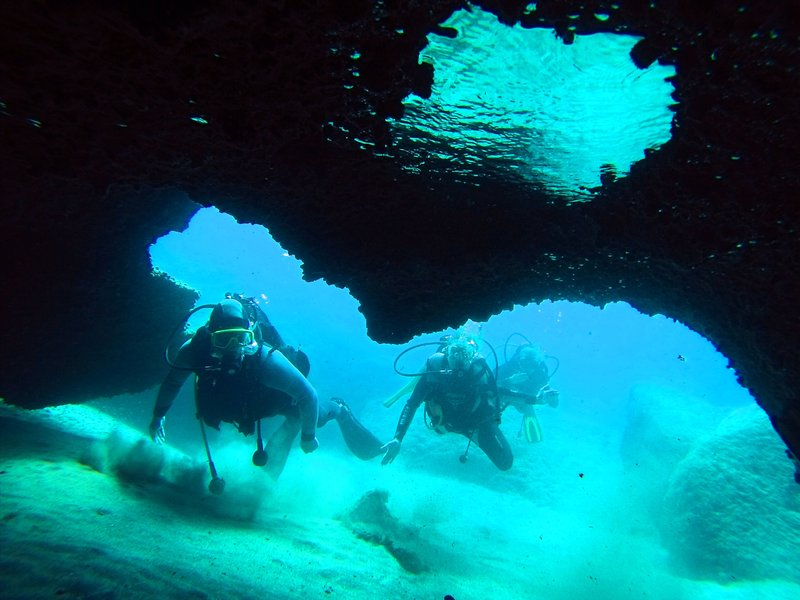 Diving in caves