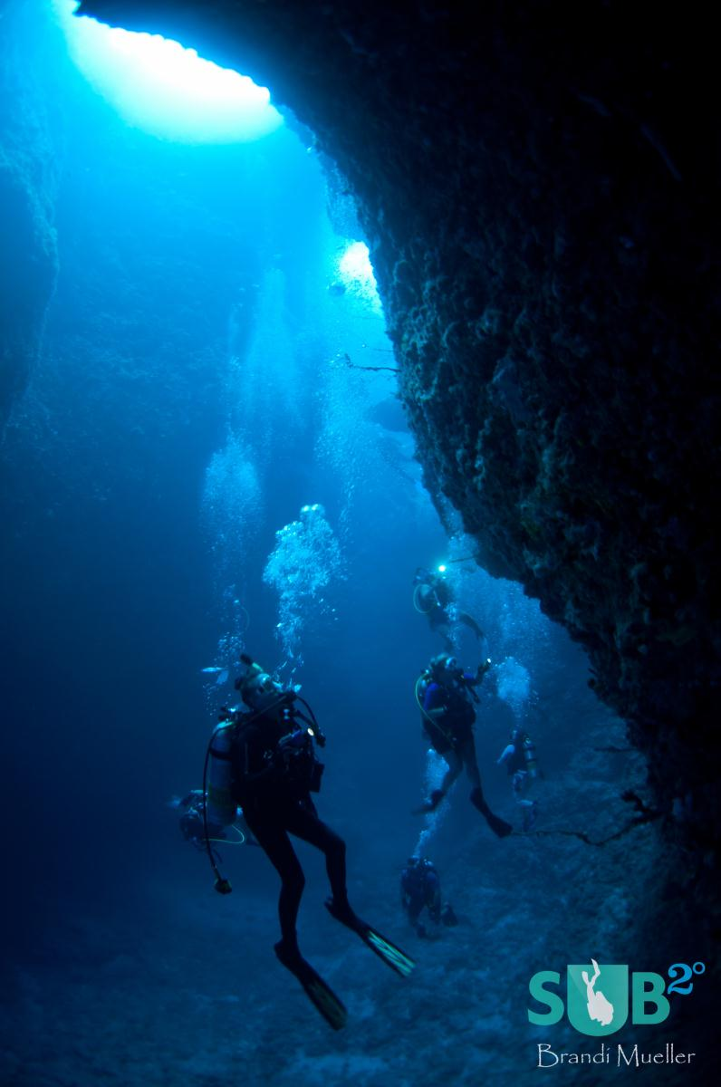 Diver's search for nudibranchs and disco clams inside Blue Holes at the start of a dive.