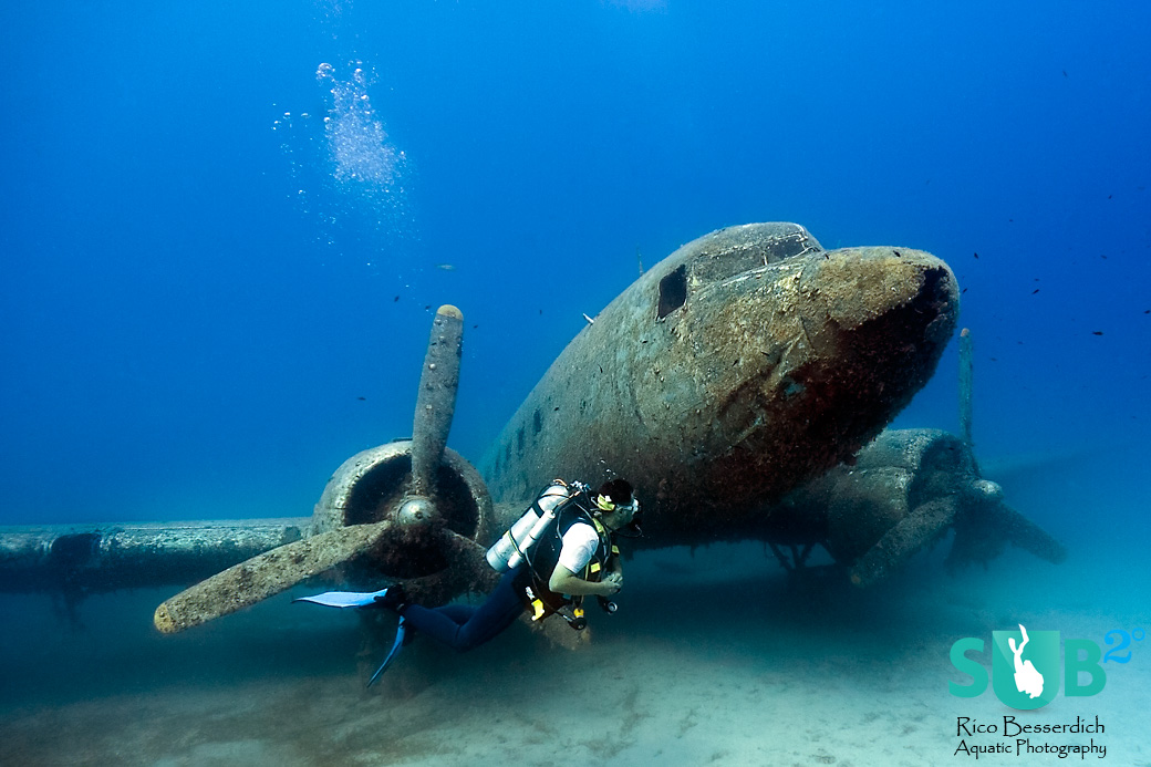 "Diving the C47 ""Skytrain"" airplane in southern Turkey."