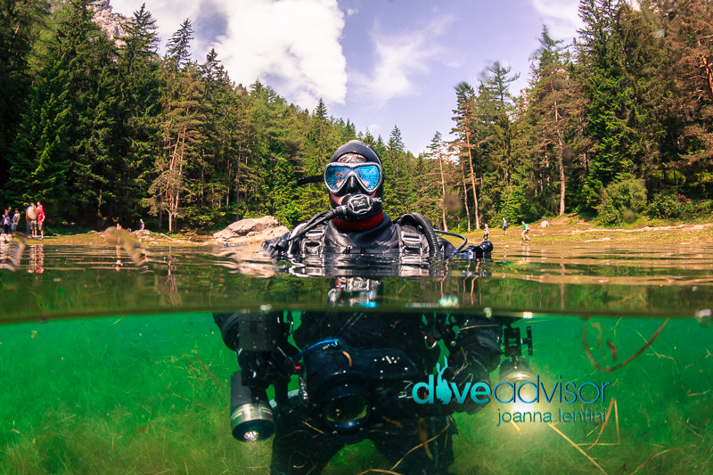 Dry Suit Diver at Gruner See, Austria.