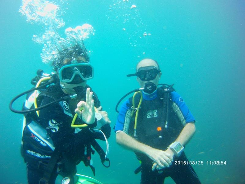 Husband and Wife diving