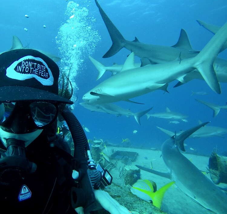 Enjoying some shark company with Stuart Cove's Dive Bahamas! Wearing my Conversation Ocean hat to promote shark conservation :)