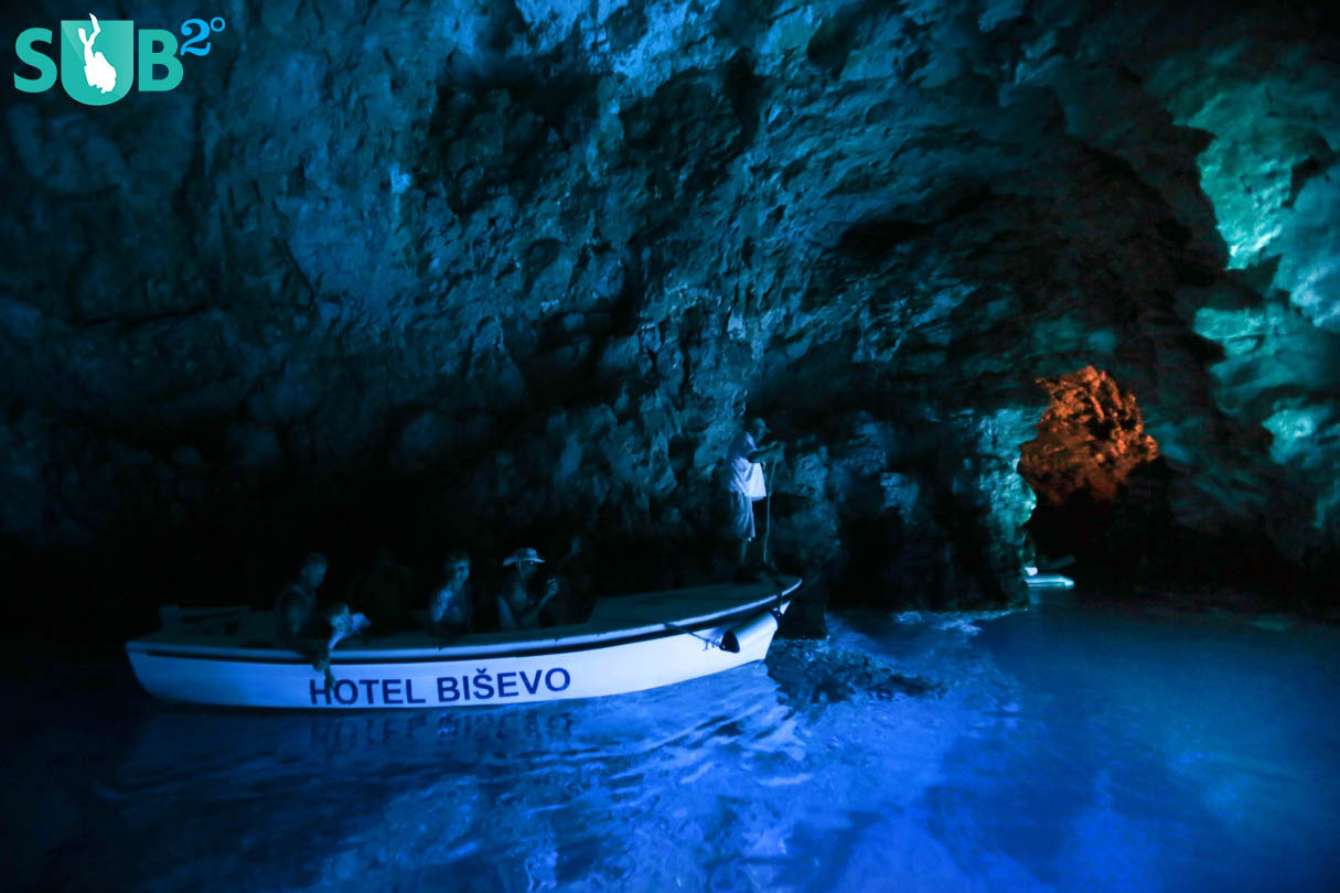 Just like special effects from a movie set, the entire cave is bathed in a radiant aqua-bluish glow.