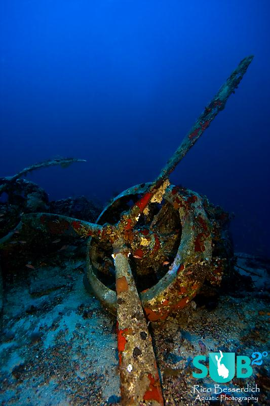 "Engine & propeller of the Savoia Marchetti SM 79 I ""Sparviero"" in 60 meter depth."