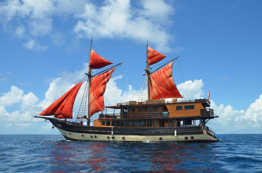 Sails up out of Wayag, Raja Ampat