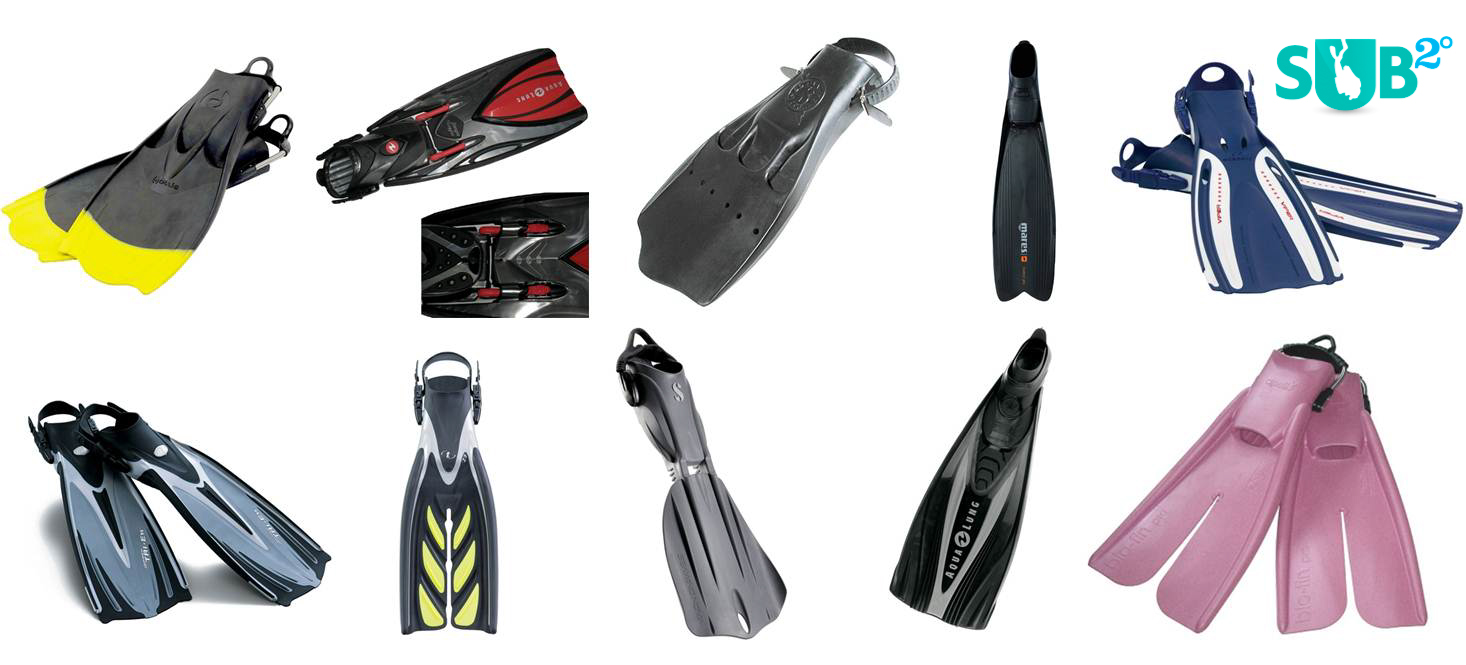 Fins come in all shapes, colors, and sizes.  Here's a few examples of popular fins currently on the market.  Product photos from Leasurepro.com.