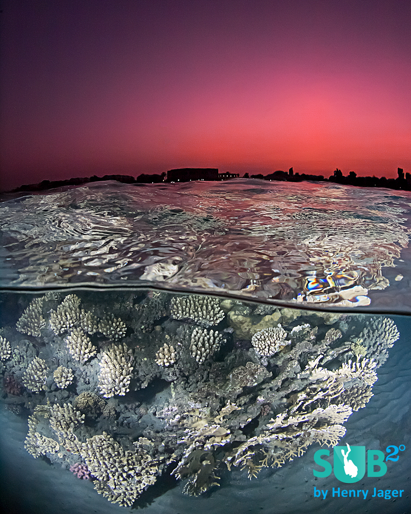 Correctly just after the sunset, at dusk. The sky is getting red, a fantastic scenery occours over the Red Sea reef.