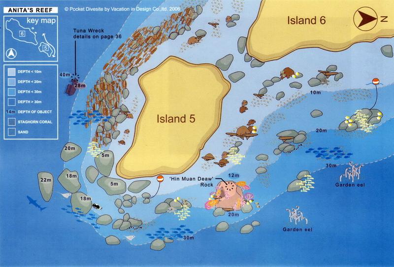 Site Map of Anita's Reef - Similans Dive Site, Thailand